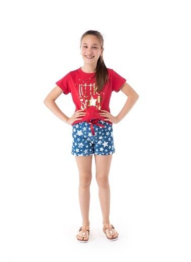 Pamuk & Pamuk Yıldız Desen Genç Kız Şortlu Pijama Takım Renkli